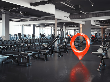 Gym with white walls and dark floor with red geotag, 3d rendering Banco de Imagens - 100269726