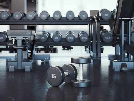 Gym with white walls and dark floor, 3d rendering
