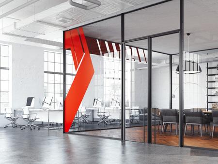 Sala riunioni dell'ufficio e spazio aperto di lavoro bianco, rendering 3d