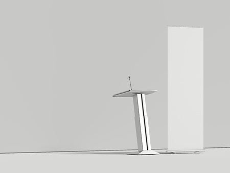 Bright conference hall with microphone tribune and white roll up, 3d rendering 스톡 콘텐츠
