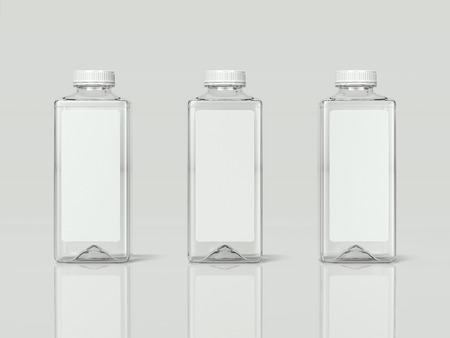3 Transparent isolated bottles of water, 3d rendering Stock Photo