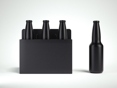 3 black isolated glass beer bottles in black box, 3d rendering