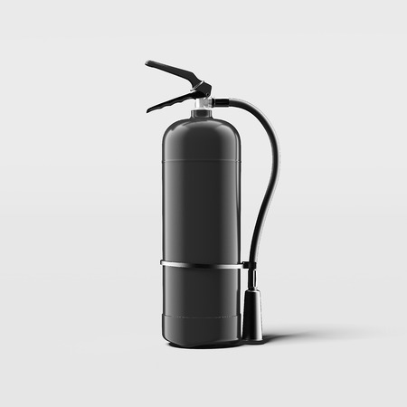 Black fire extinguisher on light grey background, 3d rendering