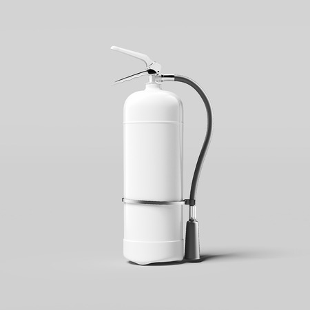 White fire extinguisher on light grey background, 3d rendering