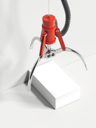 Red realistic claw machine takes white box, 3d rendering