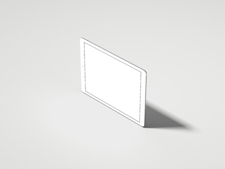Realistic white tablet with white screen, 3d rendering Фото со стока