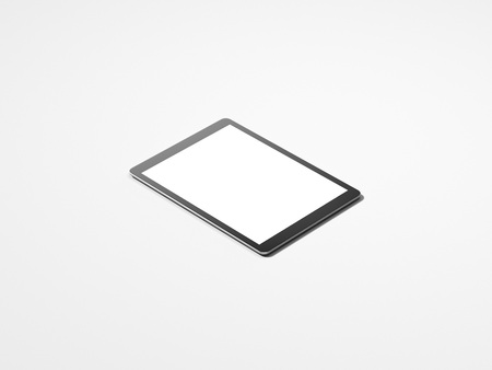 Realistic black tablet with white screen, 3d rendering Фото со стока