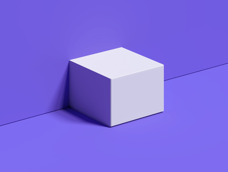 White square box stands next to the violet wall and floor, 3d rendering