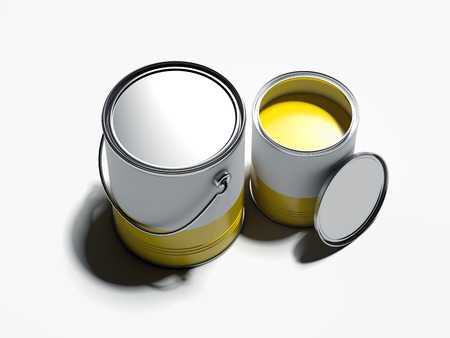 2 banks with yellow paint, 3d rendering