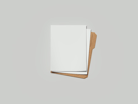 Cardboard folder with paper, 3d rendering