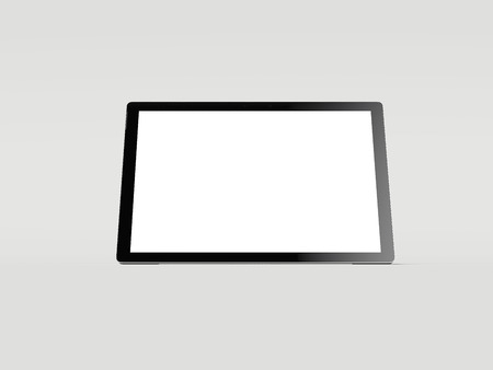 Black tablet with white screen, 3d rendering Фото со стока