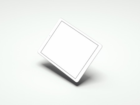 Realistic tablet with white screen on white background, 3d rendering Фото со стока