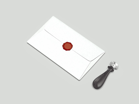 Realistic closed envelope with red wax seal and wax stamp, 3d rendering Stock Photo