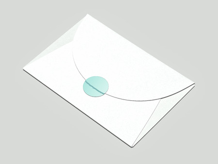 Realistic closed envelope with green wax seal and wax stamp, 3d rendering