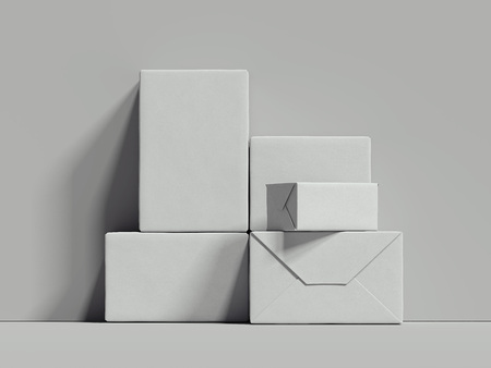 White rectangular boxes stand next to the grey wall, 3d rendering