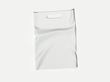 White Plastic Bag Isolated On White Background, 3d rendering Stock Photo