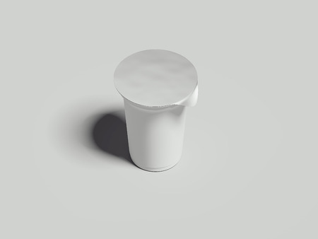 Yogurt container isolated on grey background. Blank box dessert. 3d rendering Фото со стока