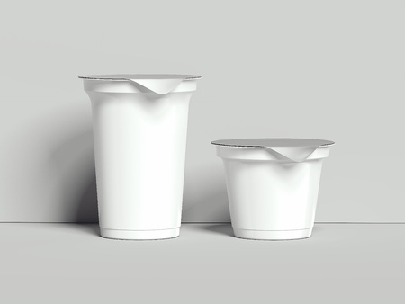 Yogurt containers isolated on grey background. Blank boxes dessert. 3d rendering