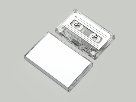 Realistic Retro Audio Cassette and white box, 3d rendering Фото со стока