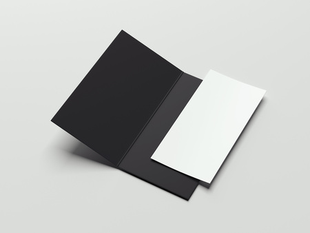 Black isolated leaflet and paper sheet, 3d rendering Imagens