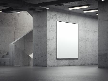 Blank bright indoor billboard on the grey walls, 3d rendering Stock Photo