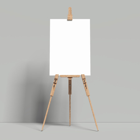 White easel stands next to grey wall, 3d rendering