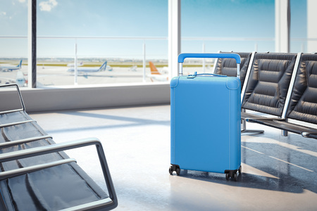Travel light blue suitcase at the airport. 3d rendering