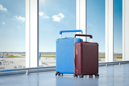 Travel suitcases at the airport with big windows on the background. 3d rendering 版權商用圖片