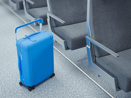 Travel blue suitcase in the airplane passage, 3d rendering