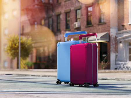 Travel suitcases at the street. 3d rendering Stock Photo