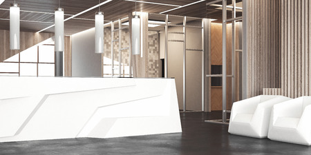 Gran salón con recepción de oficina blanca y sillas, renderizado 3d Foto de archivo