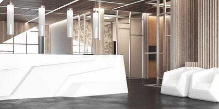 Große Halle mit weißem Büroempfang und Stühlen, 3D-Rendering Standard-Bild
