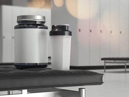Locker room in the gym with shaker and protein bottle, 3d rendering Banque d'images - 104380650