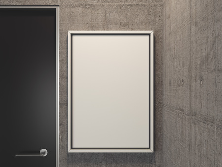 Modern bright room with grey walls, blank billboard and black door, 3d rendering