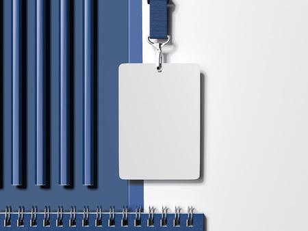 Maqueta de papelería comercial. Juego de cuaderno, cordón e insignia. Representación 3d
