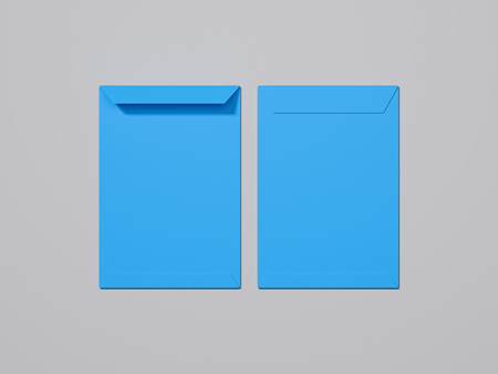 Blue envelope and blue paper on light background, 3d rendering
