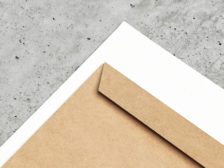 Brown envelope and white paper, 3d rendering