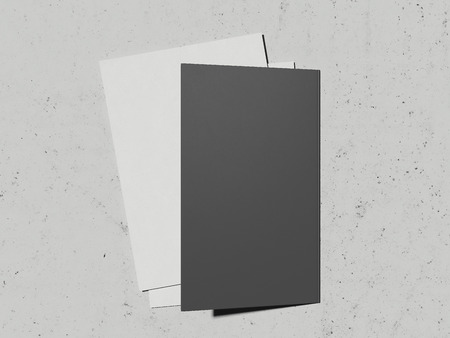 Opened leaflet and paper sheet on light grey background, 3d rendering Фото со стока