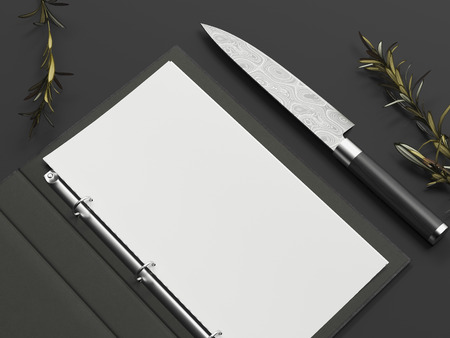 Opened black menu and paper sheet next to knife on black background, 3d rendering Фото со стока