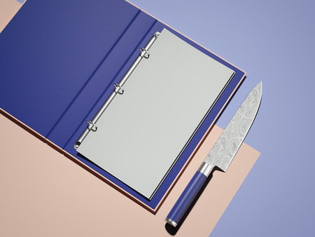 Opened violet menu and white paper sheet next to knife, 3d rendering