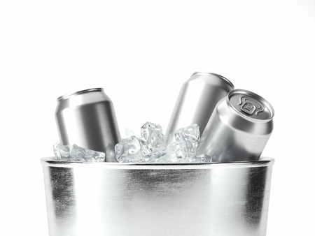 Isolated beer cans in metal tare with ice, 3d rendering