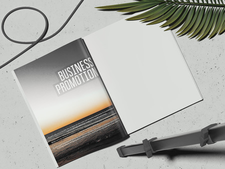 Business brochure, searchlight and wire, 3d rendering Stock Photo