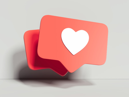 Like icons on light background, 3d rendering