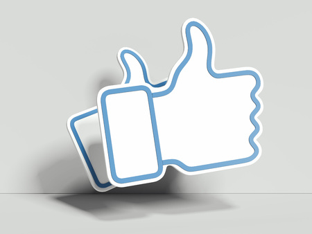 Light blue thumb up icons on white background, 3d rendering