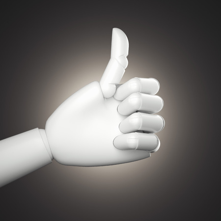 Light thumb up hand on dark background, 3d rendering
