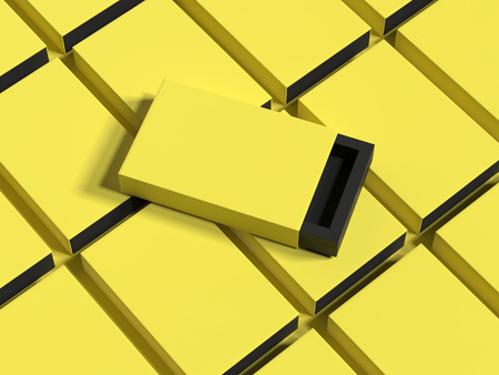 Yellow box on yellow boxes background, 3d rendering