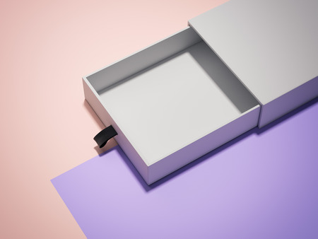 Opened white cardboard box on multicolour background, 3d rendering.