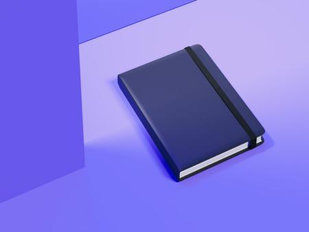 Dark notepad on violet background, 3d rendering.