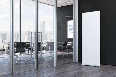 Close up of blank white roll up in modern office, 3d rendering