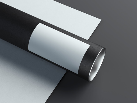 Black realistic round box on white and black background. 3d rendering